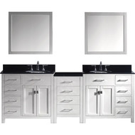 "Virtu USA Caroline Parkway 93"" Double Bathroom Vanity Set in White w/ Black Galaxy Granite Counter-Top 