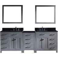 "Virtu USA Caroline Parkway 93"" Double Bathroom Vanity Set in Grey w/ Black Galaxy Granite Counter-Top 