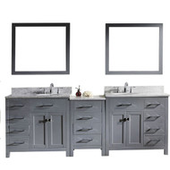 "Virtu USA Caroline Parkway 93"" Double Bathroom Vanity Set in Grey w/ Italian Carrara White Marble Counter-Top 