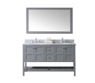 "Virtu USA Winterfell 60"" Double Bathroom Vanity Set in Grey w/ Italian Carrara White Marble Counter-Top"
