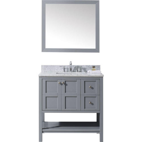 "Virtu USA Winterfell 36"" Single Bathroom Vanity Set in Grey w/ Italian Carrara White Marble Counter-Top 