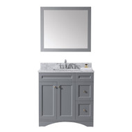 "Virtu USA Elise 36"" Single Bathroom Vanity Set in Grey w/ Italian Carrara White Marble Counter-Top 