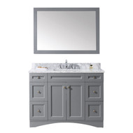 "Virtu USA Elise 48"" Single Bathroom Vanity Set in Grey w/ Italian Carrara White Marble Counter-Top"