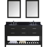 "Virtu USA Caroline Estate 60"" Double Bathroom Vanity Set in Espresso w/ Black Galaxy Granite Counter-Top 
