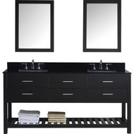 "Virtu USA Caroline Estate 72"" Double Bathroom Vanity Set in Espresso w/ Black Galaxy Granite Counter-Top 