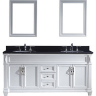 "Virtu USA Victoria 72"" Double Bathroom Vanity Set in White w/ Black Galaxy Granite Counter-Top 