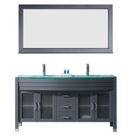 "Virtu USA Ava 63"" Double Bathroom Vanity Set in Grey w/ Tempered Glass Counter-Top 