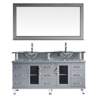 "Virtu USA Vincente Rocco 59"" Double Bathroom Vanity Set in Grey w/ Tempered Glass Counter-Top 