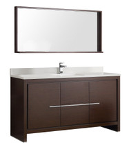 "Fresca Allier 60"" Wenge Brown Modern Single Sink Bathroom Vanity w/ Mirror"