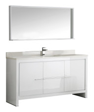 "Fresca Allier 60"" White Modern Single Sink Bathroom Vanity w/ Mirror"