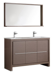 "Fresca Allier 48"" Gray Oak Modern Double Sink Bathroom Vanity w/ Mirror"