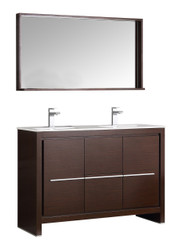 "Fresca Allier 48"" Wenge Brown Modern Double Sink Bathroom Vanity w/ Mirror"