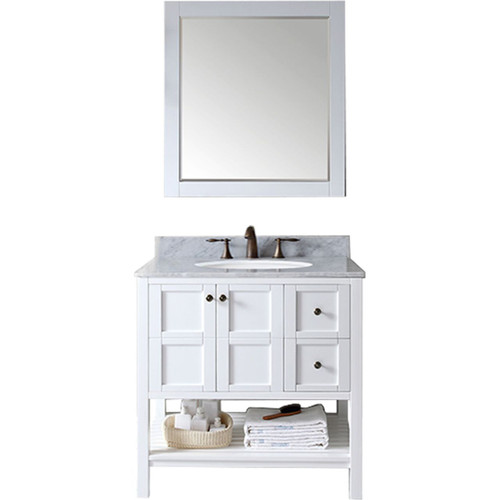 "Bathroom Vanities Set virtu usa winterfell 36"" single bathroom vanity set in white"