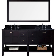 "Virtu USA Winterfell 72"" Double Bathroom Vanity Set in Espresso w/ Black Galaxy Granite Counter-Top 