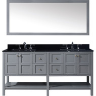 "Virtu USA Winterfell 72"" Double Bathroom Vanity Set in Grey w/ Black Galaxy Granite Counter-Top 