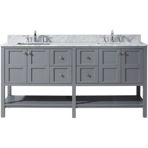 "Virtu USA Winterfell 72"" Double Bathroom Vanity Set in Grey w/ Italian Carrara White Marble Counter-Top 
