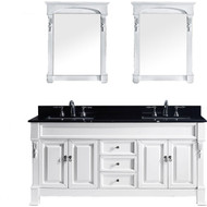 "Virtu USA Huntshire 72"" Double Bathroom Vanity Set in White w/ Black Galaxy Granite Counter-Top 