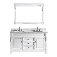 "Virtu USA Huntshire 60"" Double Bathroom Vanity Set in White w/ Italian Carrara White Marble Counter-Top"