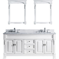 "Virtu USA Huntshire 72"" Double Bathroom Vanity Set in White w/ Italian Carrara White Marble Counter-Top 