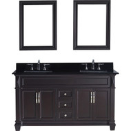 "Virtu USA Victoria 60"" Double Bathroom Vanity Set in Espresso w/ Black Galaxy Granite Counter-Top 