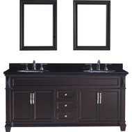 "Virtu USA Victoria 72"" Double Bathroom Vanity Set in Espresso w/ Black Galaxy Granite Counter-Top 