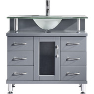 "Virtu USA Vincente 36"" Single Bathroom Vanity Set in Grey w/ Frosted Glass Counter-Top 
