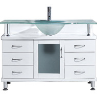 "Virtu USA Vincente 48"" Single Bathroom Vanity Set in White w/ Frosted Glass Counter-Top 