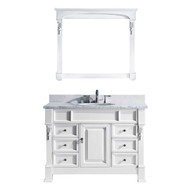 "Virtu USA Huntshire Manor 48"" Single Bathroom Vanity Set in White"