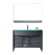 "Virtu USA Ava 48"" Single Bathroom Vanity Set in Grey w/ Tempered Glass Counter-Top 