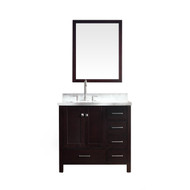 "ARIEL Cambridge 37"" Single Sink Vanity Set w/ Left Offset Sink in Espresso"