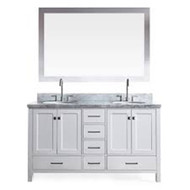 "Ariel Cambridge 61"" Double Sink Vanity Set in White"