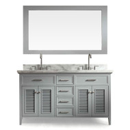 "ARIEL Kensington 61"" Double Sink Vanity Set in Grey (D061D-GRY)"