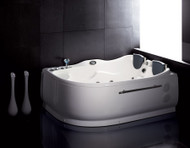 EAGO AM124-L 6' Double Corner Acrylic White Whirlpool Bathtub - Drain on Left (AM124-L)