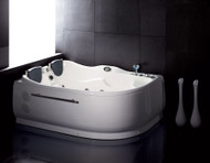 EAGO AM124-R 6' Double Corner Acrylic White Whirlpool Bathtub - Drain on Right (AM124-R)