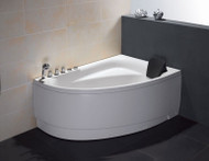 EAGO AM161-L 5' Single Person Corner White Acrylic Whirlpool Bath Tub - Drain on Left (AM161-L)