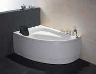 EAGO AM161-R 5' Single Person Corner White Acrylic Whirlpool Bath Tub - Drain on Right (AM161-R)