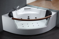EAGO AM197 5' Rounded Clear Modern Corner Whirlpool Bath Tub with Fixtures (AM197)