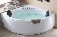 EAGO AM200 5' Rounded Modern Double Seat Corner Whirlpool Bath Tub with Fixtures (AM200)