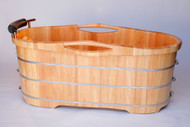 Turn any bathroom into an eye catching spectacular with a high end wooden tub. The perfect addition to any log style cabin or winter home. Nothing feels better than crawling into a tub made of wood and filled with steaming hot water. Just lay back and relax, you're in a classic wooden tub.