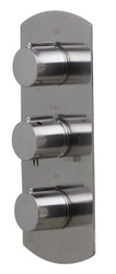 ALFI brand AB4001-BN Brushed Nickel Concealed 3-Way Thermostatic Valve Shower Mixer Round Knobs