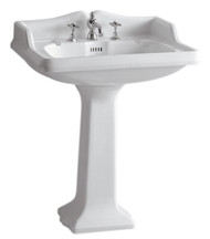 Whitehaus AR834-AR805-3H Three Holes China Pedestal Sink with an Integrated Oval Bowl.