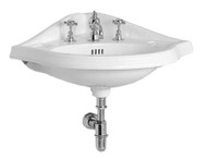 Whitehaus AR884-3H China Series Wall Mount Lavatory Sink with Three Faucet Hole.