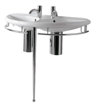 Whitehaus ECO64-ESU04 China Semi-Circular Double Bowl Console Sink.