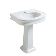 Whitehaus LA10-LA03-3H Traditional Pedestal with Integrated Oval Bowl and Rear Overflow Single Faucet Hole.