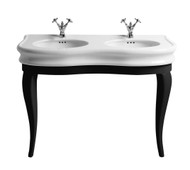 Whitehaus LA12-LAM120B China Series Double Bowl Basin Console with Oval Bowls (LA12-LAM120B)