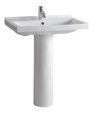 Whitehaus LU024-LU005-3H China Tubular China Pedestal with Rectangular Basin Widespread Hole Faucet (LU024-LU005-3H)
