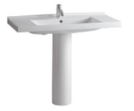 Whitehaus LU040-LU005-3H China Tubular Pedestal Sink with Widespread Hole Faucet (LU040-LU005-3H)