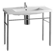 Whitehaus LU040-LUA7 China Large Rectangular Console Sink with Single Hole Faucet.