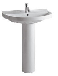 Whitehaus LU044-LU005-3H China Tubular Pedestal Sink With One Faucet Hole (LU044-LU005-3H)