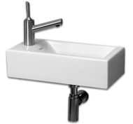 Whitehaus WH1-114L Isabella Rectangular Basin with Center Drain and Single Left Side Faucet Hole.